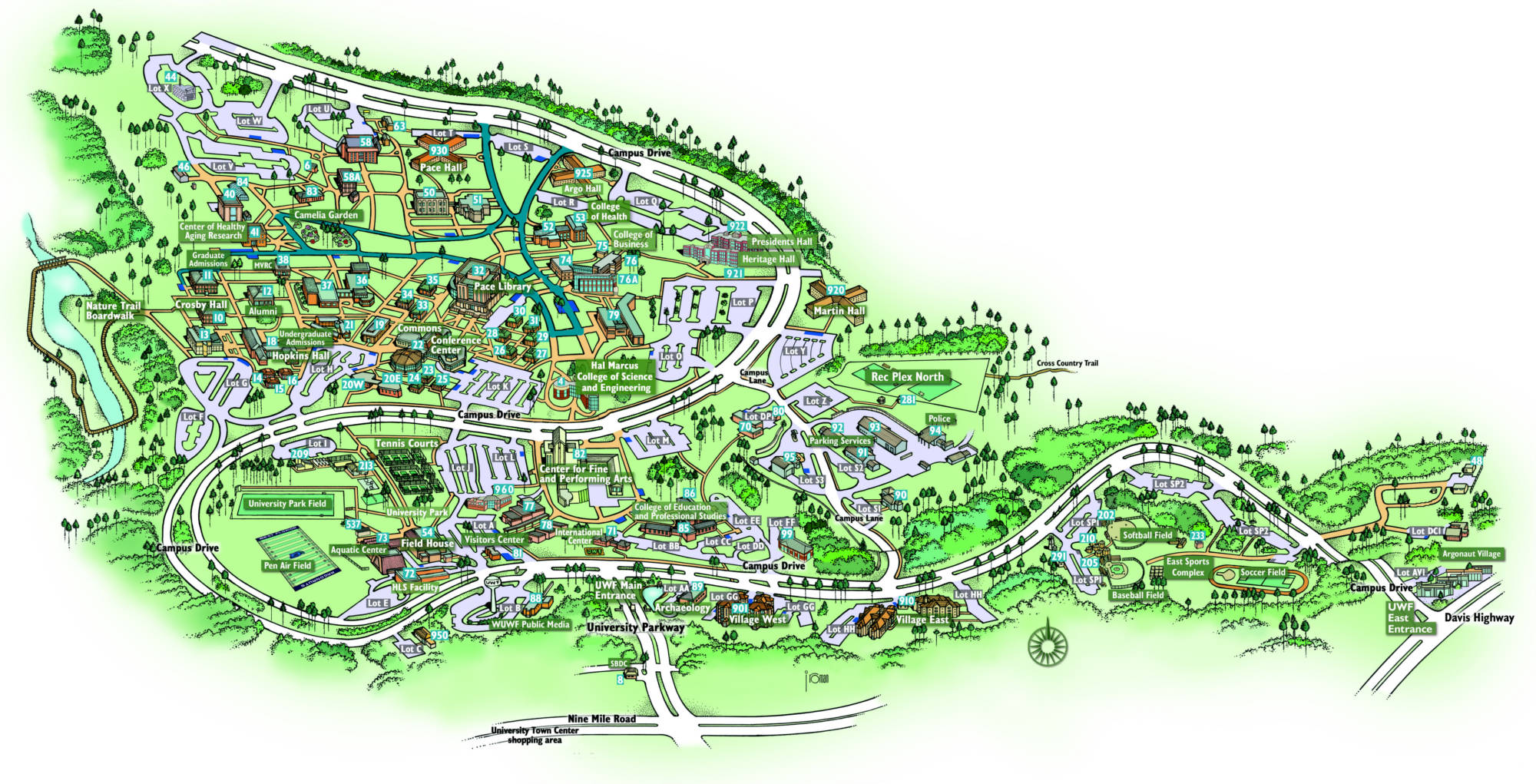 Campus Map University of West Florida Visitor 39 s Guide