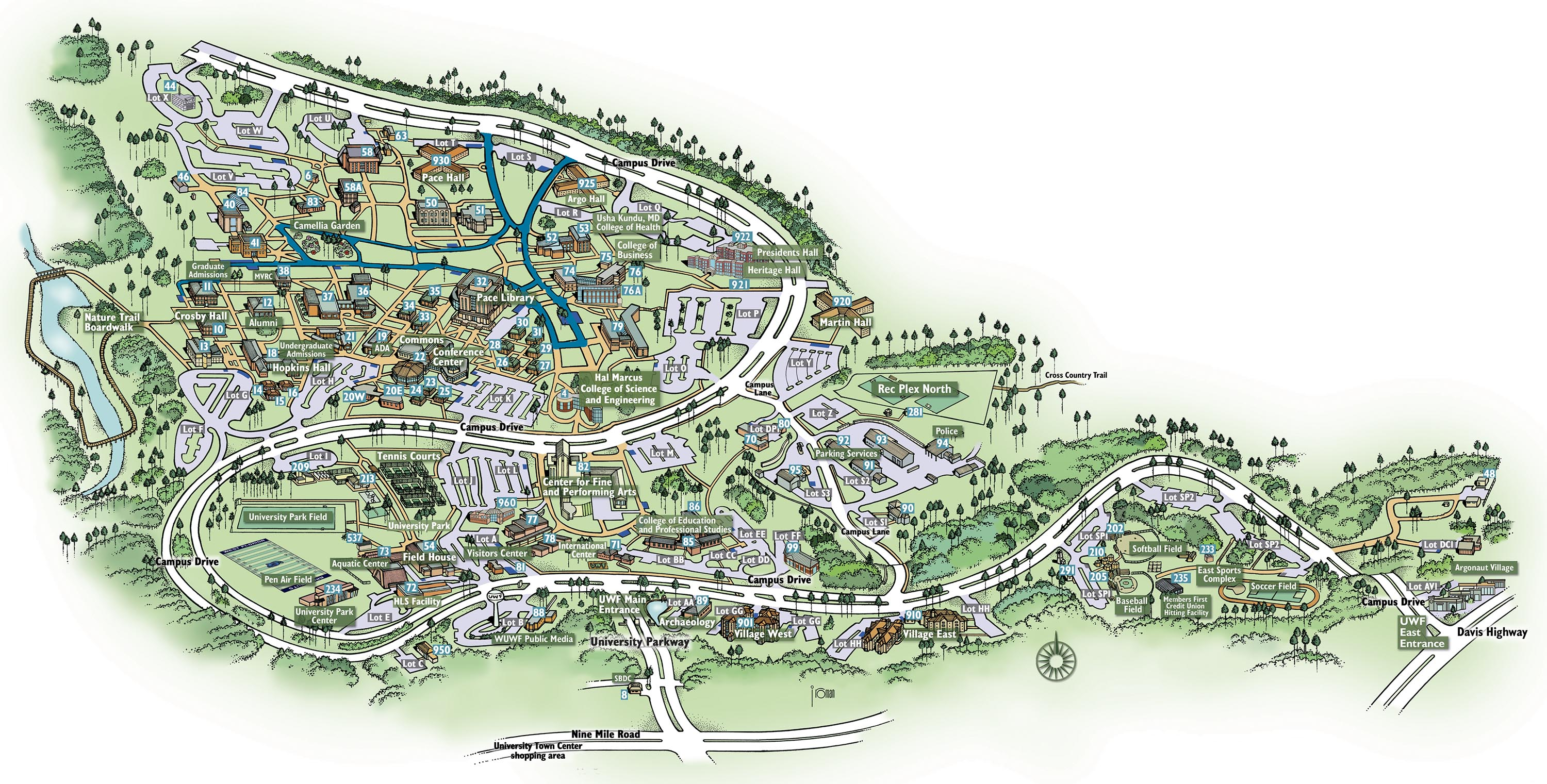 Campus Map | University of West Florida Visitor's Guide
