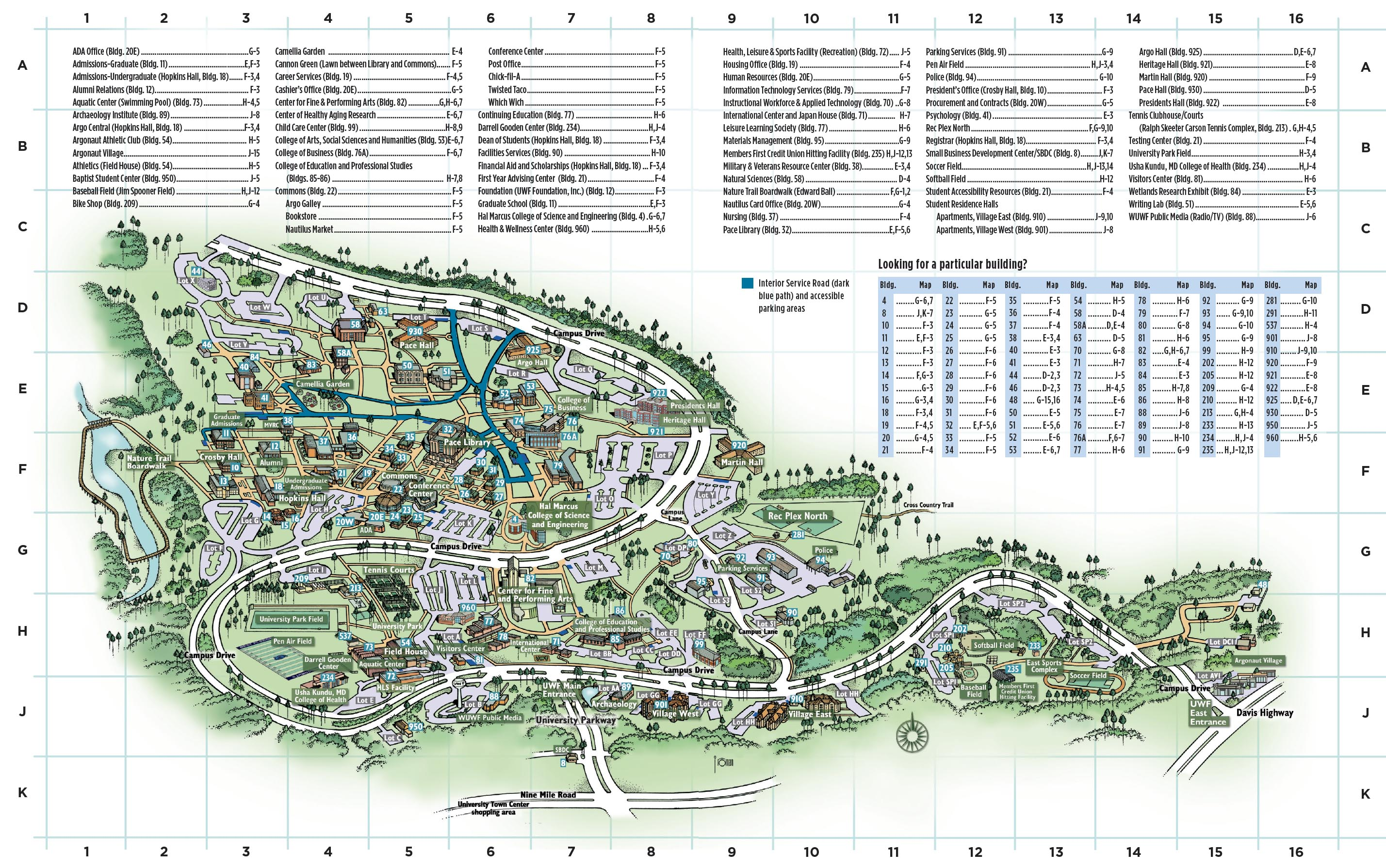 University Of West Florida Map Campus Map | University of West Florida Visitor's Guide